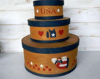 Shaker Boxes - Primitive Farmhouse Country Decor - 3 Nesting Wood Boxes - Americana Decor