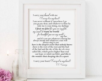 I carry your heart - Printable - EE Cummings poem - Typography - Diy wall art - Anniversary gift - Wedding - Decor - Instant download  sc 1 st  Etsy & I carry your heart wall art | Etsy