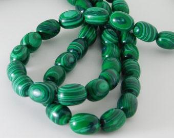 malachite plain barrel shape bead - 15mm x 10mm - STK-32-SMLCB-01