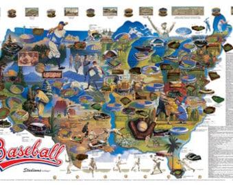 Baseball Stadiums Wall Map Poster c.1990 Lithograph