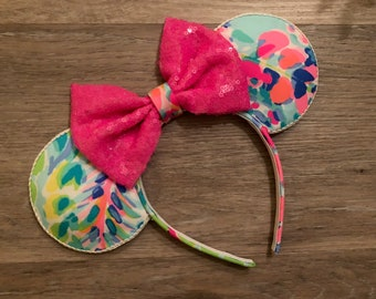 READY TO SHIP Lilly Fabric Minnie Ears  Catch the Wave