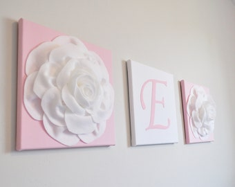 Trio Wall Canvas Set /Initial Room Decor / Pastel Home Decor / set of 3 / Light Pink with White Nursery Flower Home Decor