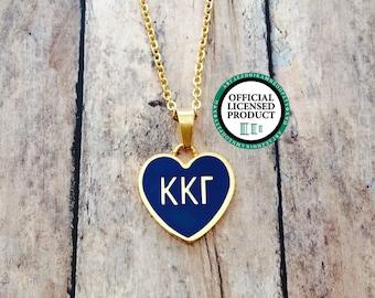 Kappa Kappa Gamma Enamel Heart Necklace | Kappa Kappa Gamma Necklace | Sorority Necklace | Kappa Kappa Gamma Heart | Heart Necklace | KKG