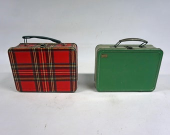 Two Vintage Metal Lunch Boxes, Old Lunch Pail, Plaid, Green, Classic, Collectible