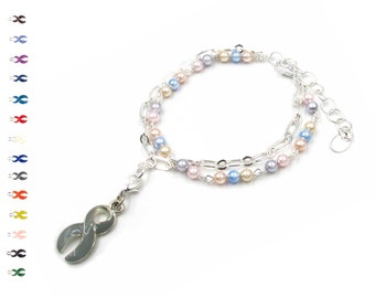 Grace - Breast Cancer Awareness Ribbon - Pastel and Silver - Awareness Ribbon - With Swarovski Pearls