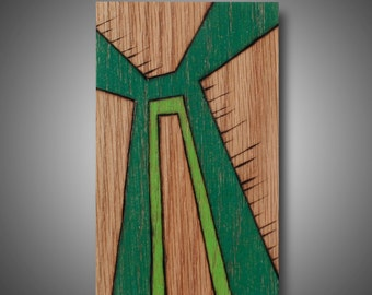 "Small Abstract Modern Art, Original design Woodburned onto Oak and Colored with Prismacolor Pencils, ""Protist"" 3.5"" x 5.75"""
