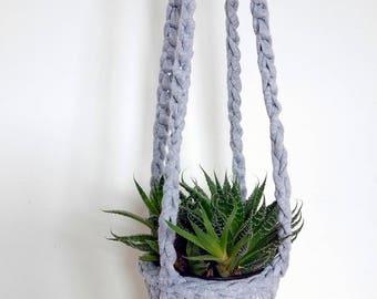 Grey hanging Planter, small planter, crochet hanging planter, grey and white decor, small house plants, succulent planter, plant lover gift