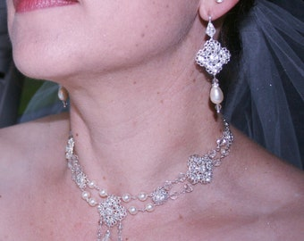 Bridal Crystal and Pearl Necklace and Earring Set