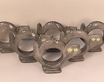 Ceramic Spooky Gray Halloween Cat Kitty Napkin Ring Set of 6 Fall Table Accessory Napkin Rings