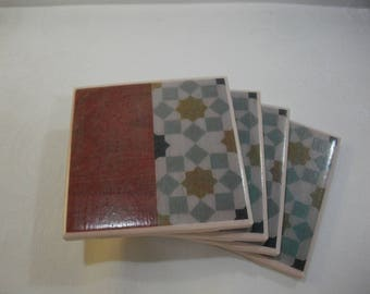 Moroccan Tile Coasters / Moroccan and Wood Ceramic Tile Coasters / Moroccan Mosaic Vintage Style Set of 4 Coasters