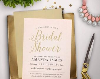 Pink Burlap Bridal Shower Invitation (DIGITAL FILE)