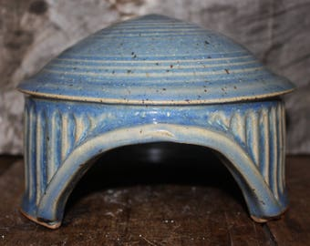 Stoneware toad house, Ceramic house, Pottery Toad Cottage, Garden Fairy Home,