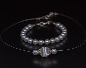 Brautschmuck Hochzeitsschmuck Set Armband Halskette Ohrringe Kunstperlen weiß