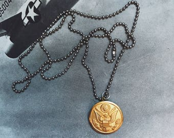 Men's Military Eagle Button Necklace
