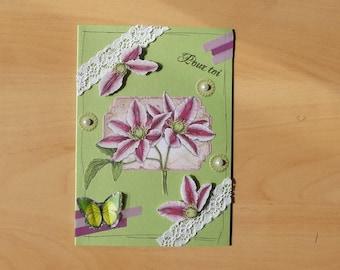 Green 3D card, handmade.