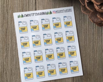 Functional Cat Litter Container Planner Stickers