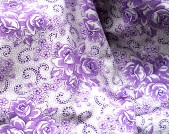 vintage floral french fabric french vintage fabric antique floral fabric lilac fabric cotton fabric 48