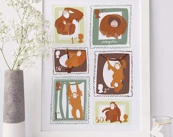 Orangutan giclee print