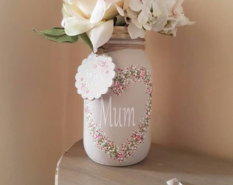Mother's Day/Birthday - Hand Painted Mason Jar