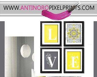 Digital Print Wall Art Love Yellow Greys White Wall Art Vintage / Modern Inspired -Set of (4) - 8x10  -  (UNFRAMED)