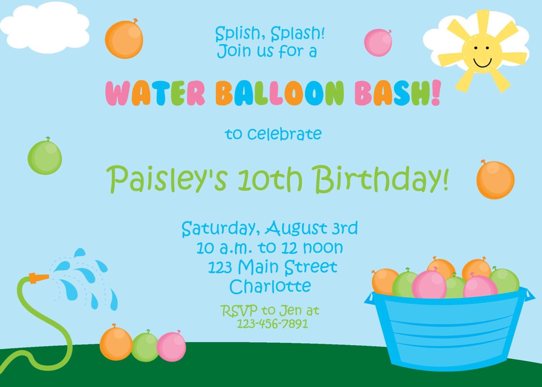 water balloon party invitation water balloon bash birthday