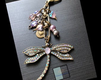 Iridescent dragonfly . Handmade , Handbag  charms by local artists