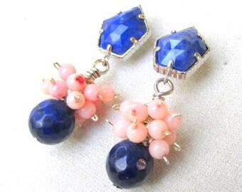 Lapis & Pink Coral Dangle Earrings - Artisan Handmade Jewelry