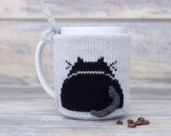 Pet lover gift, Knitted coffee mug cozy, Party favor, Mug sweater, Black kitten, Tea sleeve,  Cup warmer, Coffee cosy, Hot drink cozy