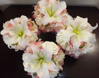 Bridesmaids bouquet made with real touch white/cream Casablanca lilies, roses, orchids and pink hydrangea