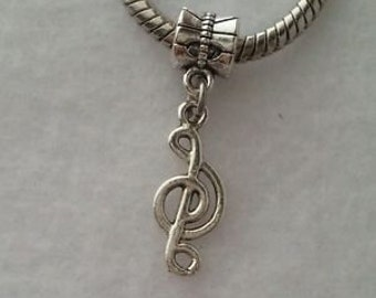 DIY - 5 PCS Silver Plated Music Note Dangle Charm fits European Charm Bracelet Or Clip