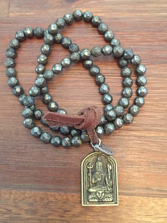 Pyrite Mala Prayer Beads with Brass Shiva Pendant Aum Symbol Bracelet Om
