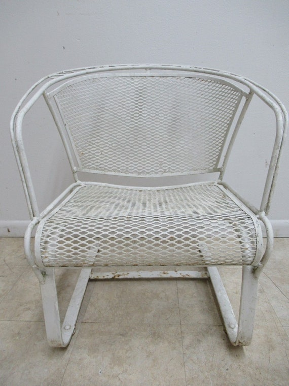 Vintage Woodard Outdoor Patio Porch Arm Lounge Spring Chair Mid Century