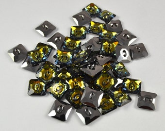 2 pcs Swarovski 3017 Square Button 12 mm, Crystal Tabac M-Foiled (BSW006)