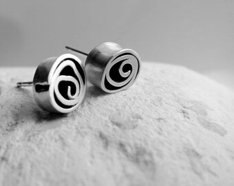 Silver spiral stud earrings, fine silver studs, sterling silver, handmade silver stud earrings, organic studs, spiral studs, Dorset Hill,