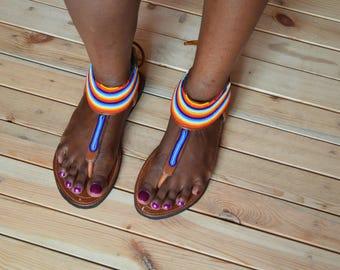 Hidaya sandals (Brown)/African sandals/Sandals/Maasai leather sandals/Leather Sandals women/shoes/Kenyan sandals/Women sandals/Women shoes