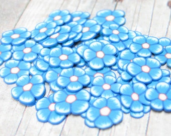Blue polymer clay flower slices 50 pc kawaii miniature decoden pieces 6mm to 8mm nail art deco scrapbook embellishment resin supplies