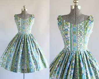 Vintage 1950s Dress / 50s Cotton Dress / Serbin of Florida Purple Turquoise and Green Floral Sun Dress S