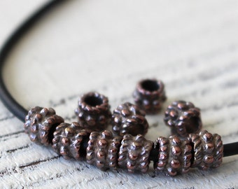 Mykonos Beads - Antiqued Bronze Bali Style Beads - 5mm Spacer Beads - Greek Beads - Jewelry Making Supply - - Choose Amount