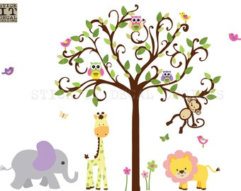 Jungle Wall Decal, Nursery Wall Decal, Scroll tree decal, Giraffe, Elephant, Girl Room Wall Decal, XXL Candy Dots Scroll Tree