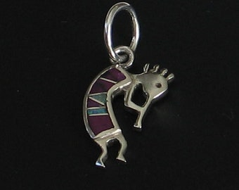 Tiny 22mm Upcycled Kokopelli Flute Player Spirit Necklace Charm Sterling Sugilite Opal