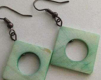 Vintage Light Green Nacre Genuine Geometric Form Beaded Earrings #382
