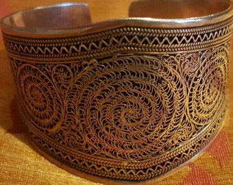 Solid Chunky Sterling Silver Indian Ornate cuff bangle. 78 grams in weight