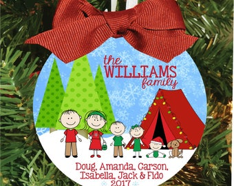 Christmas Ornament, Tent Camping Ornament, Camping Christmas, Personalized Ornament, Xmas Ornament, Christmas Gift, Family Ornament