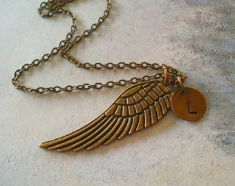 Angel Wing Necklace  Guardian Angel Necklace Memorial Necklace Hand Stamped Disc Personalized Jewerly