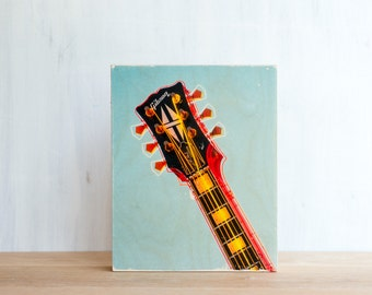"""Gibson Guitar Photo Art Block, Limited Edition Image Transfer on 8""""x10"""" Wood Panel by Patrick Lajoie, music photography, signage"""