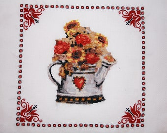 Completed Cross Stitch embroidery, Finished Cross Stitch,Completed Cross Stitch of Tea Pot with flowers,Kitchen theme Completed Cross Stitch
