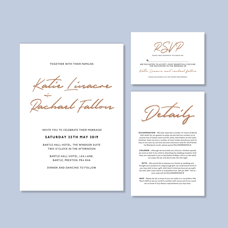 Foil Wedding Invitation Personalised Script Design