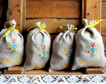 Natural Linen Sachets Set of 4, Embroidered Bags, Burlap Condiment Holder, Handmade, Grey, 100% Pure Linen, Rustic  Kitchen