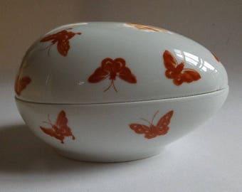 Vintage ceramic Egg shaped lidded porcelain bowl, butterfly design, marked Vista Alegre Portugal Mottahedeh, 1970s-1980s, Home Kitchen Decor