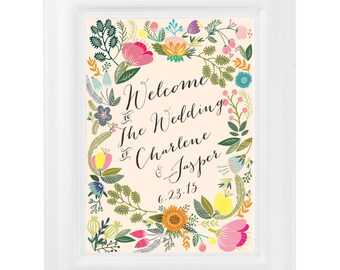Wedding Welcome Sign Blossom - printable welcome sign wedding diy CUSTOMIZED